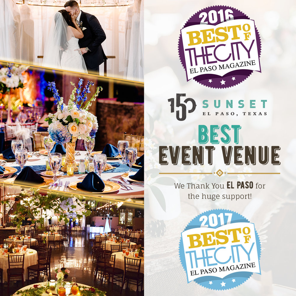 Voted Best Event Venue for 2016 & 2017 by The City Magazine